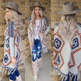 Western Abstract Navy & Rust Fringe Cardigan