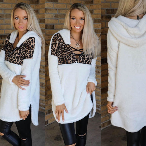 Fuzzy Leopard and White Tunic