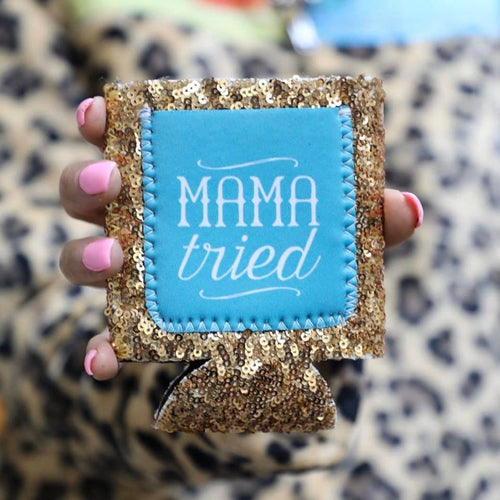 Mama Tried Sequin Koozie