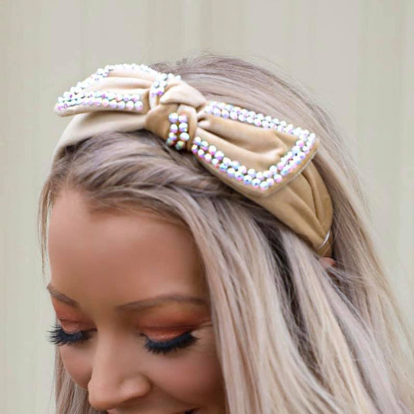 Tan Bow Headband
