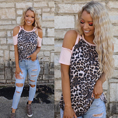 Pink Leopard Strappy Cold Shoulder Tee