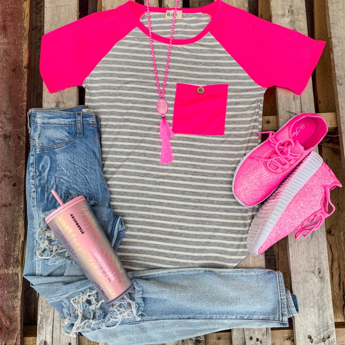 Pink and Gray Striped Raglan Tee