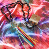 Black Rainbow Fringe Glass Beaded Necklace