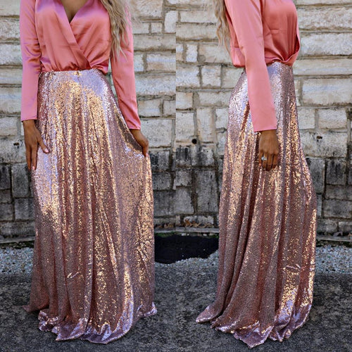 Rose Gold Long Sequin Skirt