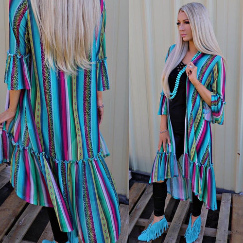 Turquoise Serape and Leopard Duster