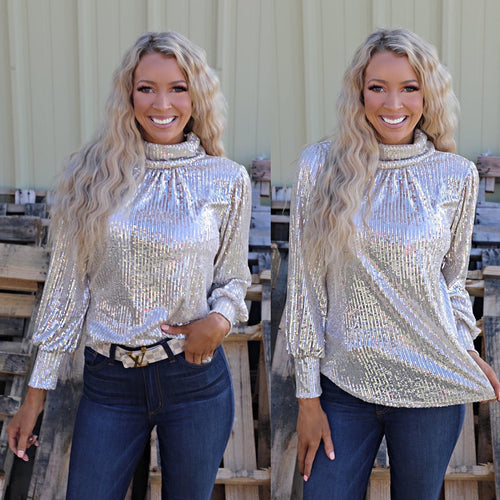 Glitz Sequin Turtleneck Top