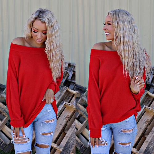 Red Red Brushed Off Shoulder Top