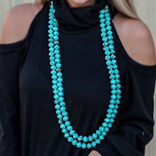 Logan Layered Turquoise Beaded Necklace - The Lace Cactus