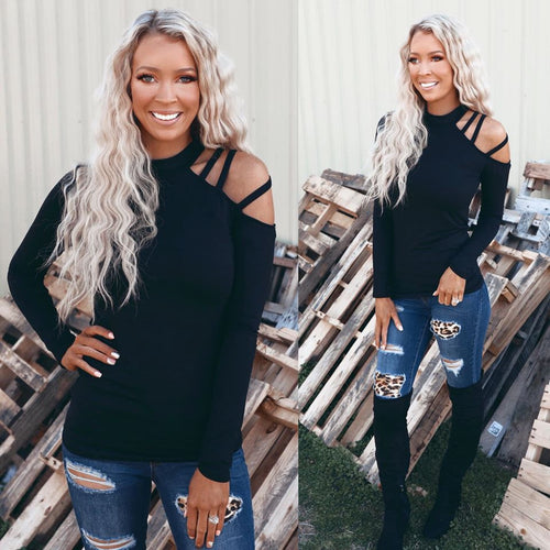All in Black Strappy One Shoulder Top