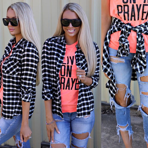 Black and White Checkered Plaid Top