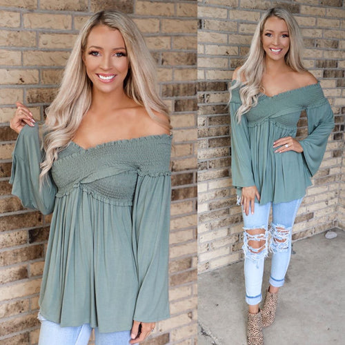 Sage Ruched Bell Sleeve Top