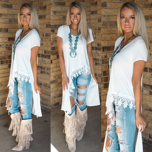Ivory Crochet Hem Hi-Low Tunic