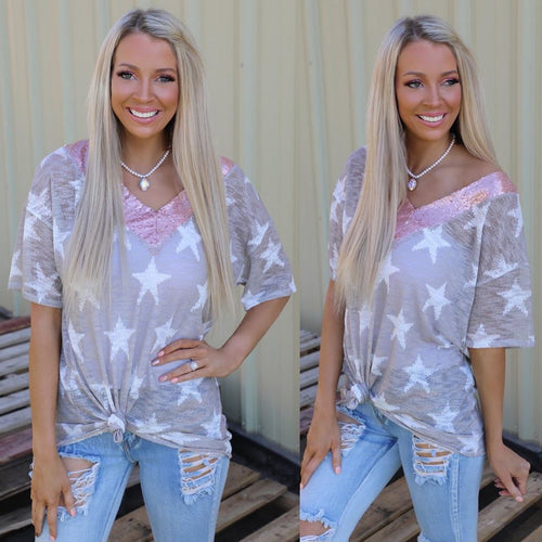 Taupe Star Sequin V-Neck Tee