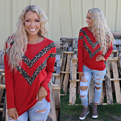 Red Leopard Chevron Long Sleeve Top