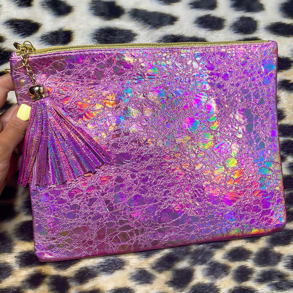 Pink Holographic Makeup Pouch - The Lace Cactus