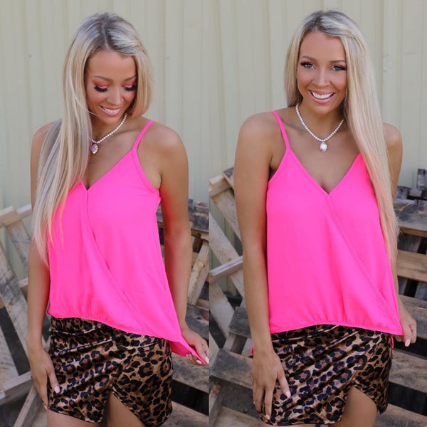 Neon Pink Surpliced Tank Top