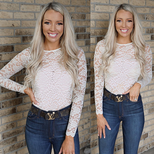 Cream Long Sleeve Lace Bodysuit