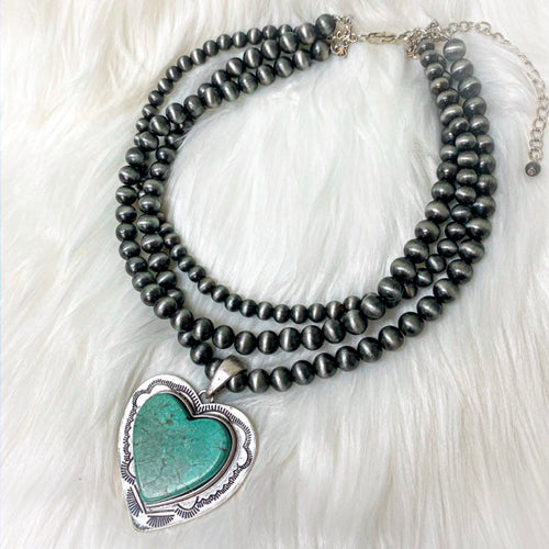 Turquoise Heart Navajo Bead Necklace