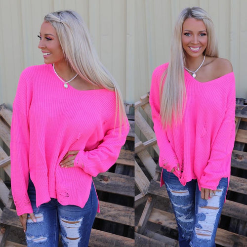Neon Pink Oversize Distressed Sweater