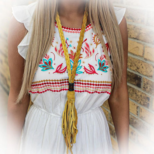 Roping Yellow Leather Fringe Necklace