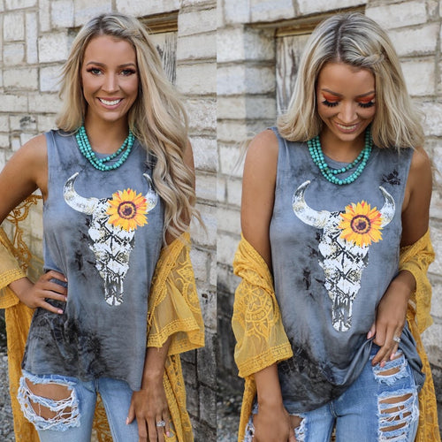 Charcoal Washed Snake Sunflower Steer Tank Top