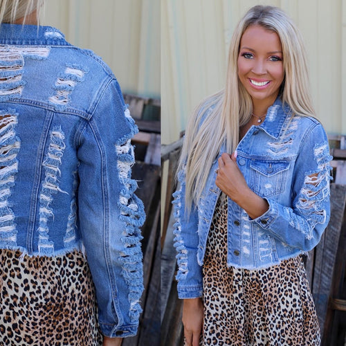 Shredded Crop Oversize Denim Jacket