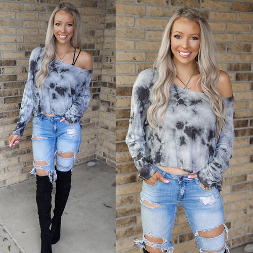 Smokey Tie-Dyed Cropped Thermal Top