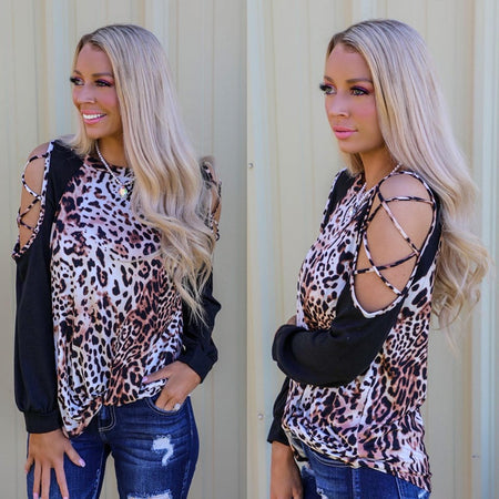 Rebel Roll Snakeskin Button Bell Sleeve Top