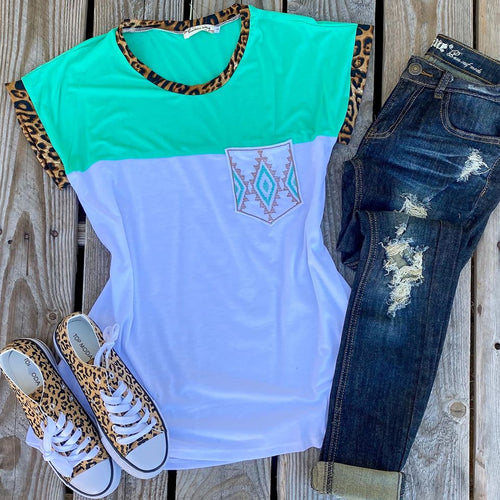 Spearmint Aztec Pocket Leopard Trim Tee