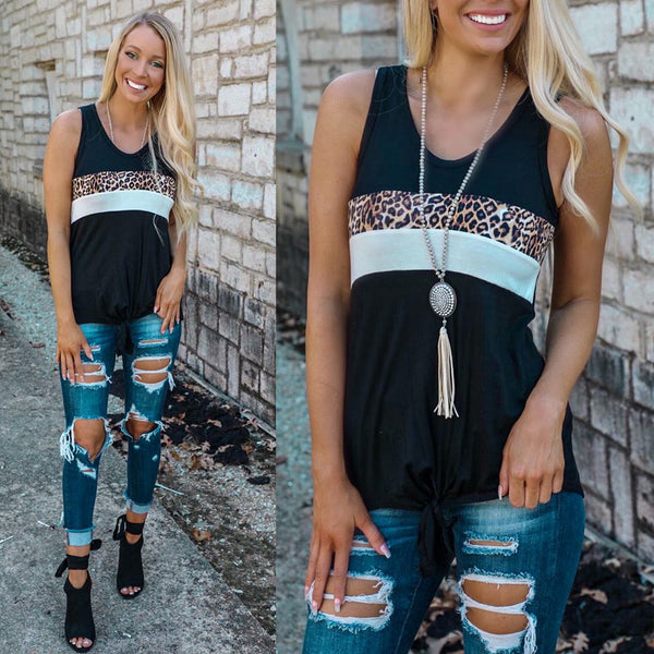 Black, White and Leopard Stripe Tie Front Tank Top