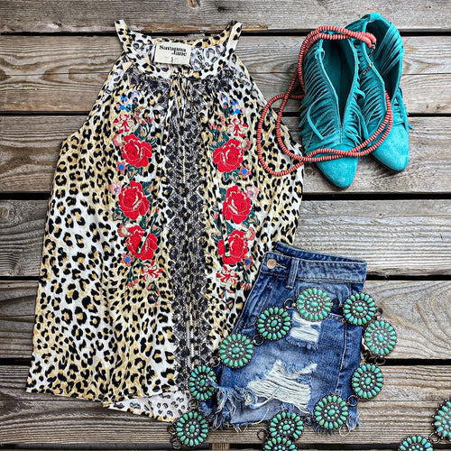 SJ Leopard Rose Embroidered High Neck Tank Top