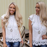 White Ruffle Sleeve Lace Top