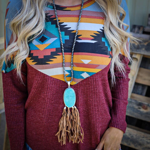 Navajo Pearl Turquoise Pendant Necklace Fringe Necklace