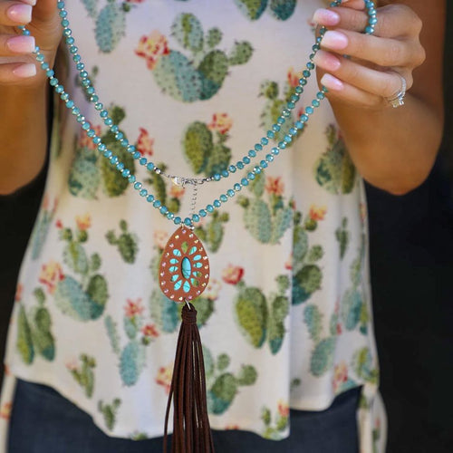 Blue Glass Beaded Leather Tassel Necklace