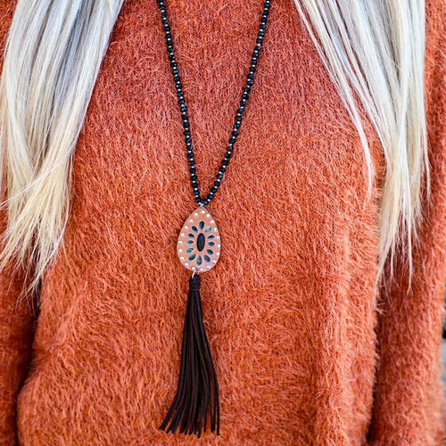 Black Glass Beaded Leather Tassel Necklace
