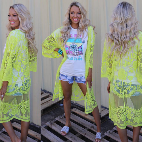 Neon Yellow Lace Duster