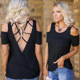 Black Webbed Back Cold Shoulder Top