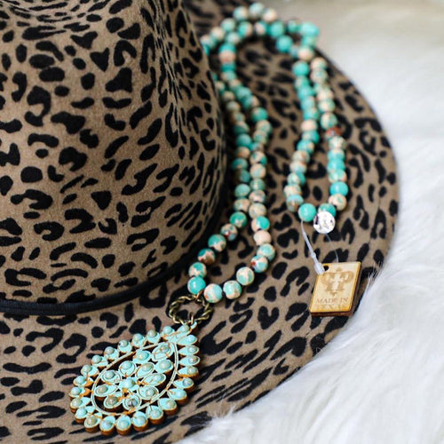 Turquoise Marbled Pink Panache Necklace