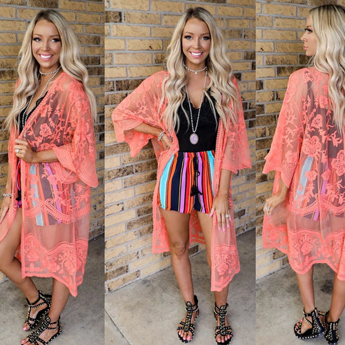 Cool Coral Lace Duster