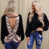 Black and Sequin Keyhole Back Top
