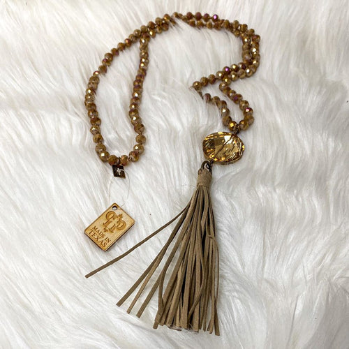 Pink Panache Gold Crystal Tassel Necklace