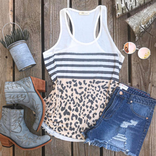 Striped Leopard Racer Back Tank Top - The Lace Cactus
