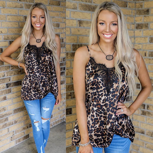 Leopard Silky Knot Front Tank Top