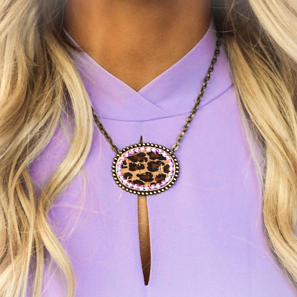 Bronze and Leopard Pink Panache Oval Bling Necklace - The Lace Cactus