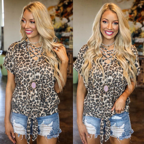 Layla Leopard Caged Tie Front Tee
