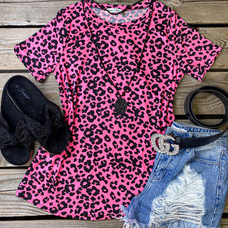 Neon Orange  Leopard Strappy Cold Shoulder Tee