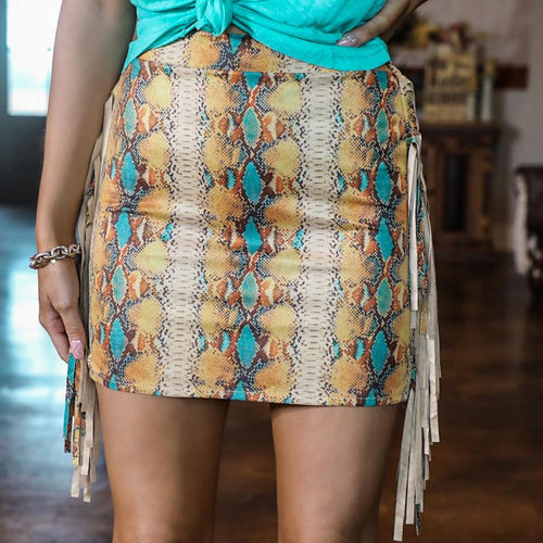 Snake Side Fringe Mini Skirt