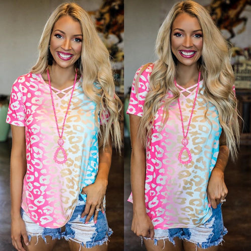 Ray of Colors Leopard Criss Cross Tee