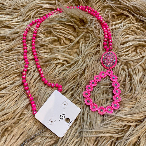 Pink Floral Teardrop Necklace