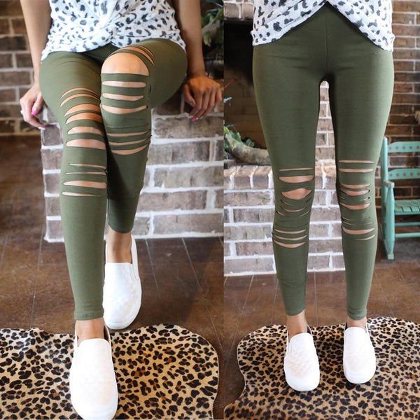 Oaklyn Olive Slit Knee Active Leggings - The Lace Cactus